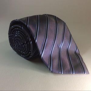 Hugo Boss blue silver stripe silk tie 60/3.0